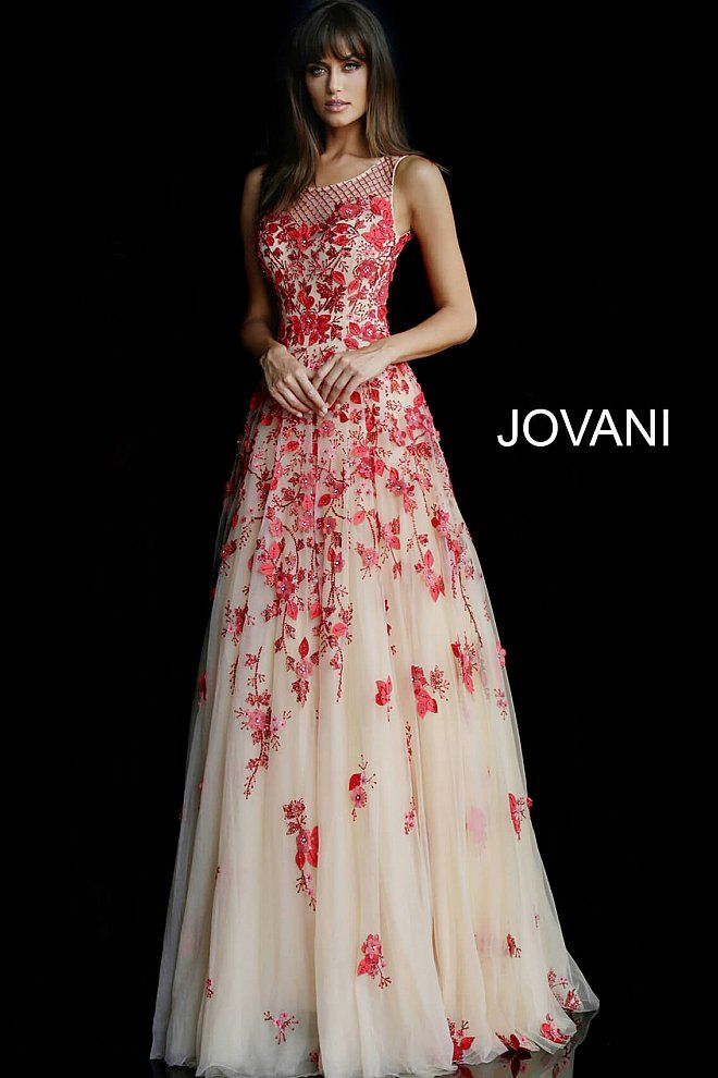 ea99284120 jovani Nude Red Open Back Floral Evening Ballgown 48280