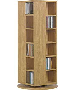 Twister DVD, Blu-ray and CD Media Storage Unit - Oak Effect.