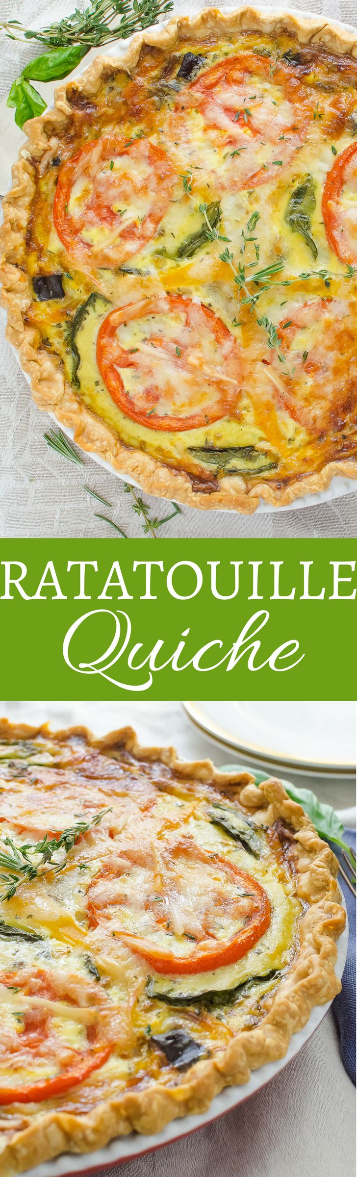 This simple vegetarian recipe for ratatouille quiche is loaded with eggplant, peppers, tomatoes and herbs all in a flaky crust. Perfect for brunch!