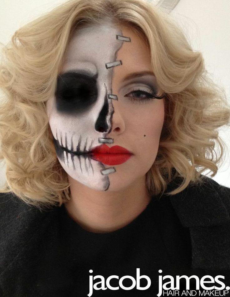 Half skull half Marilyn Monroe inspired makeup for halloween