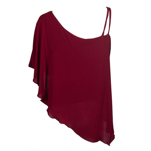 Plus Size Asymmetric Pendant Strap One Shoulder Layered Top Burgundy... ❤ liked on Polyvore featuring tops, layered tops, burgundy top, plus size camisoles, asymmetrical hem top and sheer top