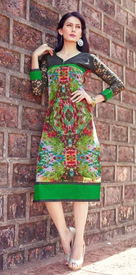 #Multicolor #Georgette Printed #Kurti #NewCollection