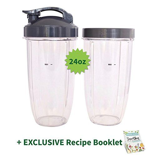 TWO Cups for NUTRIBULLET 24 oz. Tall with Flip Top & Lip Ring + 15 EXCLUSIVE Nutri Flow RECIPES - Colossal NutriBullet Cup for Nutri-Bullet 600 and Nutri Bullet 900 W