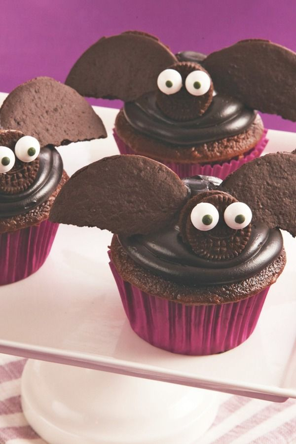 These creepy creations will fly off your Halloween party dessert table! Chocolate cookies make these cupcakes extra decadent, and extra adorable. Bake them in purple, orange, black or Halloween-print baking cups for an extra-festive treat.