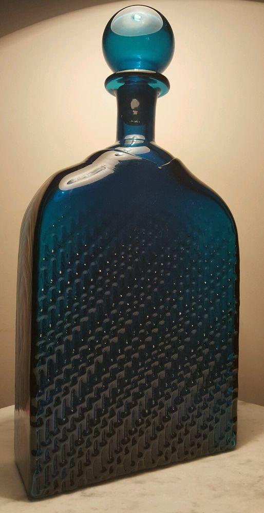 Rare Scandinavian Riihimäen Lasi Nanny Still Flindari Art glass Decanter Carafe