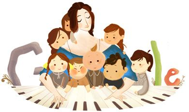 """Google recognizes Clara Schumann today, known as """"one of the most distinguished pianists of the Romantic era."""": 193Rd Birthday, Doodles De, Plan, De Clara, Birthdays, Google Doodles, Schumann 193Rd, Clara Schumann, Celebrities Clara"""