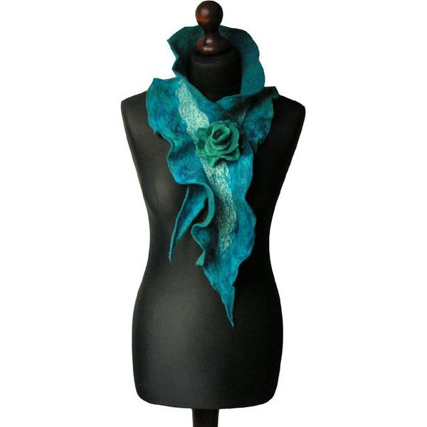 Nuno felted collar nuno felted scarf felted shawl art to wear petrol... (77 CAD) ❤ liked on Polyvore featuring accessories, scarves, navy blue shawl, navy blue scarves, navy scarves, navy shawl and shawl scarves