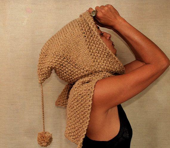Knit Hood Hooded Scarf Camel Hoodie Scarf Chunky Cowl Scarf Hood Pixie Hat Elf Hoods Wool Scoodie Fall Winter