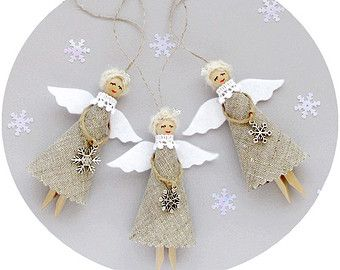 Christmas Angels Blue Christmas Ornaments Rustic by VasilinkaStore