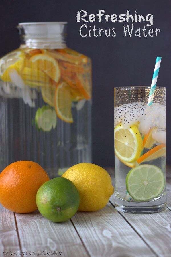 Refreshing Citrus Water - Toss those sugary drinks in the trash! via Sweet as a Cookie