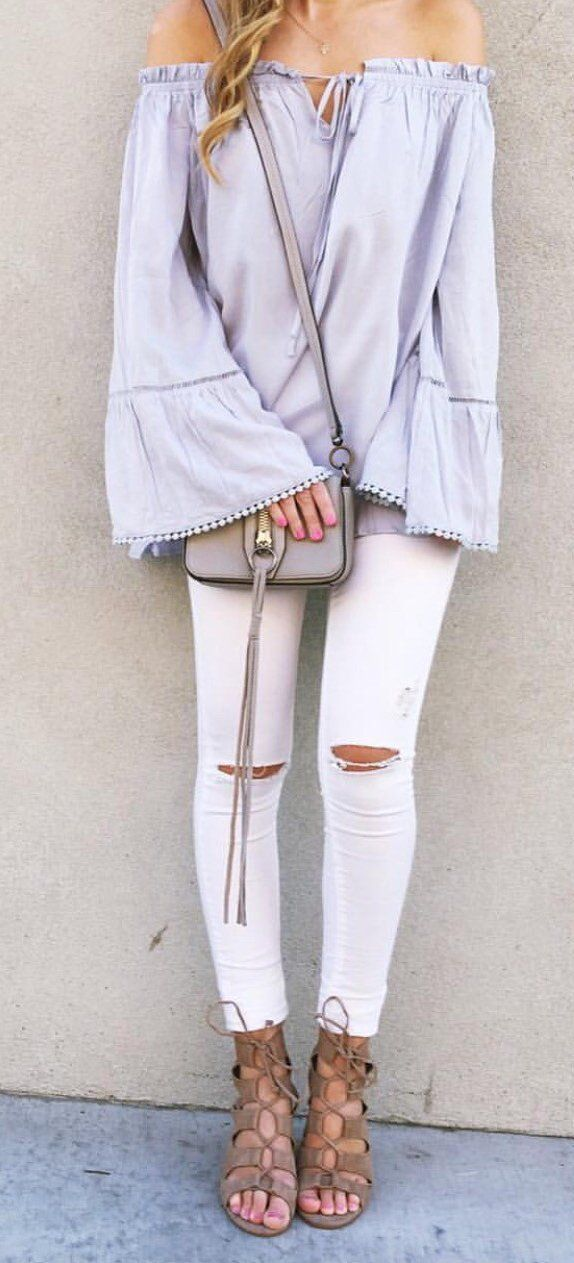 Light Blue Off The Shoulder Top & White Ripped Skinny Jeans & Brown Sandals