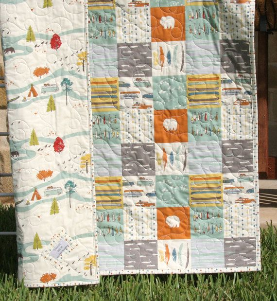 Organic Baby Quilt, Feather River Camp Sur Camping Outdoors Hiking Canoeing, Unisex Boy Girl Blanket Bears Lures Fish Modern Forest Woodland Handmade by SunnysideDesigns2