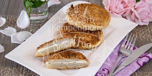 Kohlrabischnitzel mit Frischkäsefüllung Low Carb Kleine Schnitzel knusprig paniert mit erfrischend-minziger Frischkäsefüllung