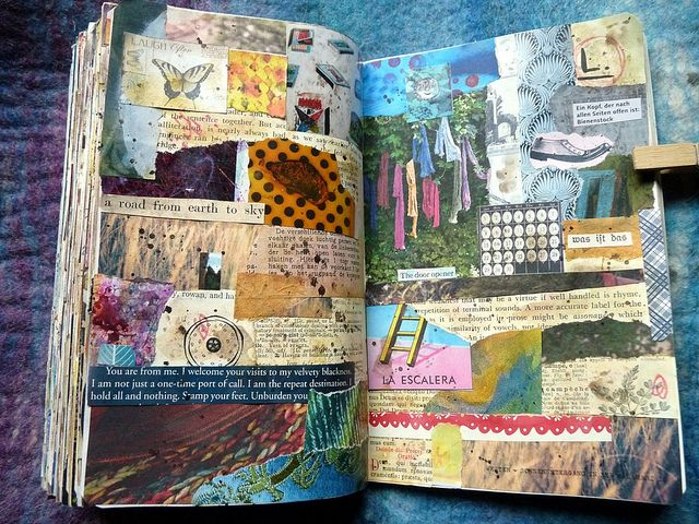 need to not forget that simply collaging has its own merits- (semi) random collaging is my favorite art journaling style!