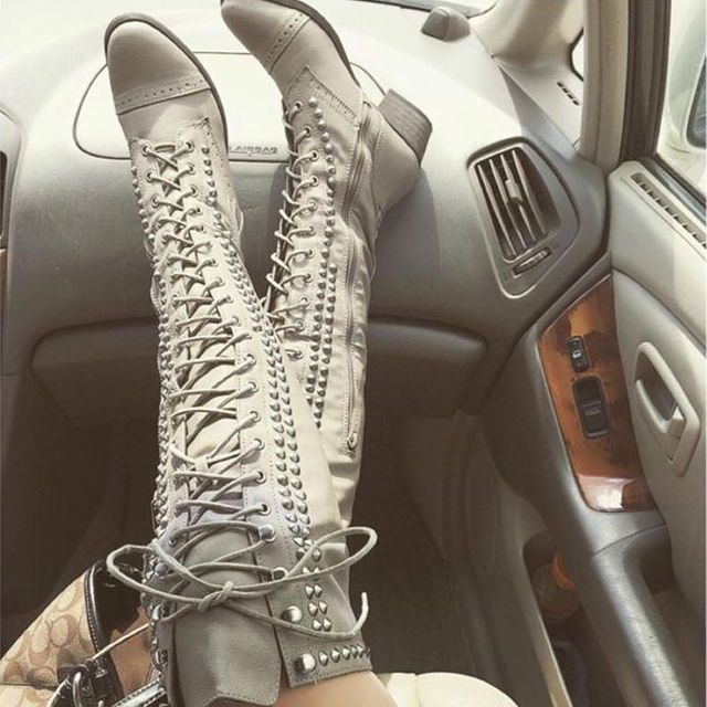 EDITOR'S NOTE Thigh High Studded Combat Boots You will definitely love the look of those awesome studded boot! Available to buy in 2 colors. Found in 2 sources.  …