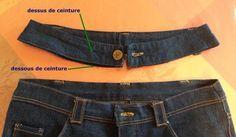 29 -  Transformer la taille basse d'un jean en taille haute