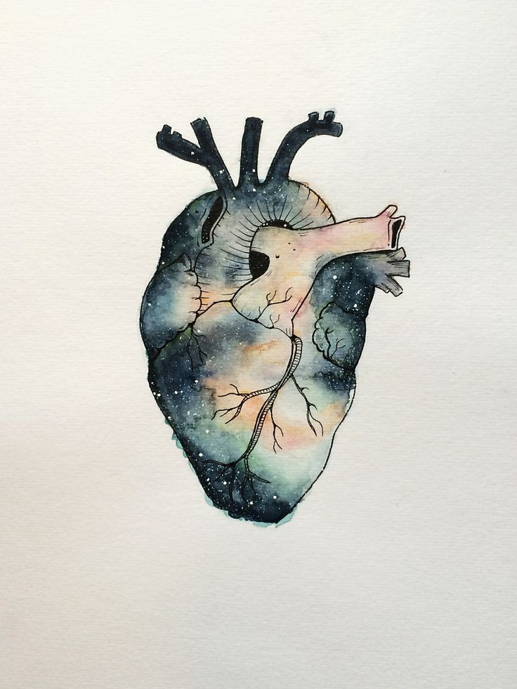 """I Heart Space"" painted with watercolor and ink."