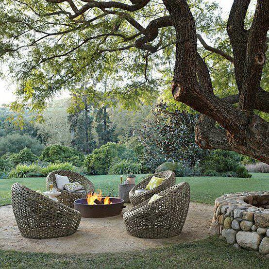 Dream Garden. Great backyard/patio design with a cozy place to chill.