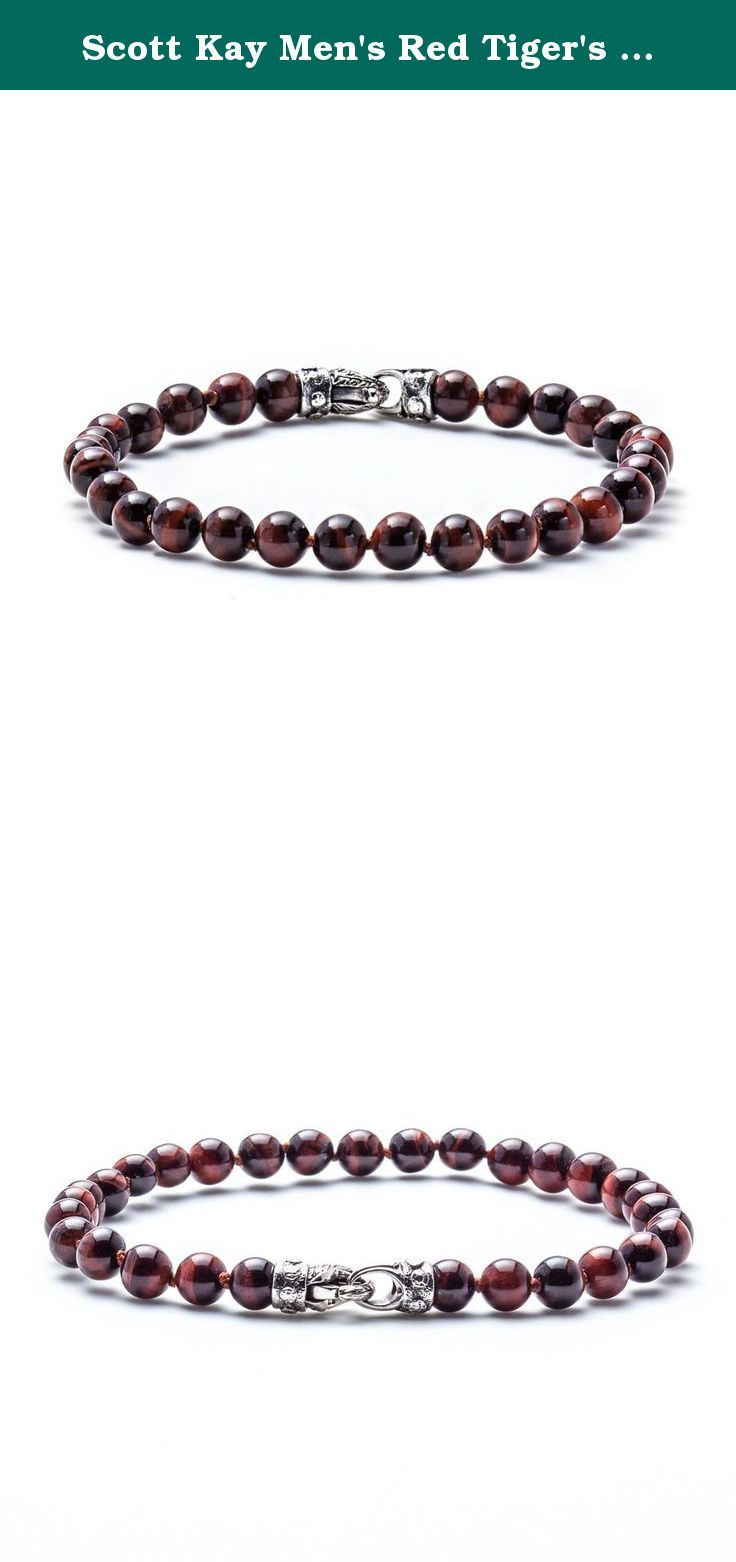 Scott Kay Men's Red Tiger's Eye Beaded Bracelet with Engraved Silver Clasp - 8.25 Inches. This Scott Kay piece pops with eye-catching red Tiger's Eye beads. The bracelet has an earthy, decidedly masculine quality and is finished with a sterling silver engraved clasp. Suited to all occasions. The only thing cooler than Tiger's Eye is to have it in dramatic red. You will be the envy of everyone.