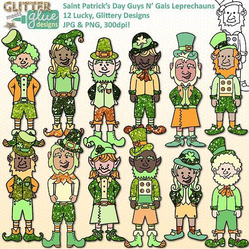 St. Patrick's Day Guys N' Gals Leprechaun Clipart -12 Cute, Glitter Elf Designs #stpatricksday