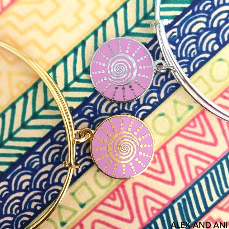 ALEX AND ANI Spiral Sun Charm Bangle! CHARITY BY DESIGN Bangle benefiting Breast Cancer Research Foundation.