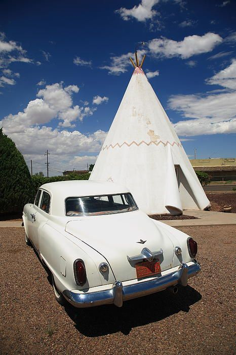 """Route 66 - A classic car parked outside a Wigwam at the famous Rt. 66 motel. """"The Fine Art Photography of Frank Romeo."""""""