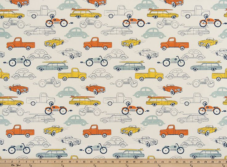Premier Prints Retro Rides Maya Macon Home Decor Fabric Retro