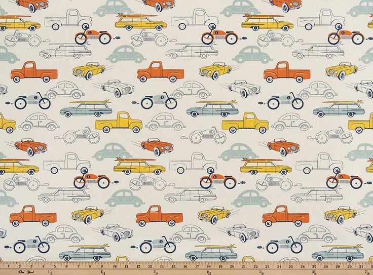 Premier Prints Retro Rides Maya Macon Home Decor Fabric Retro