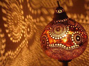 100% HANDMADE Gourd lamp  Kürbislampe handcrafted  by JUNIORCITY