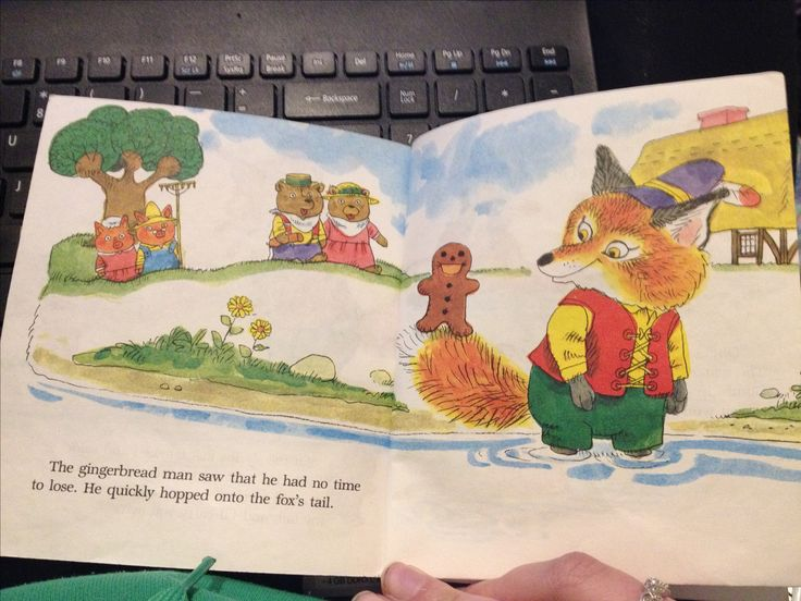 The use of water colours is shown on this page. The Gingerbread Man. Retrieved from http://www.magickeys.com/books/gingerbread/index.html