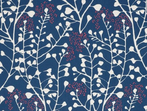 Hamilton Navy Fabric by Tru Living - A beautiful cotton fabric featuring an interesting floral pattern on a navy blue background with pops of red.