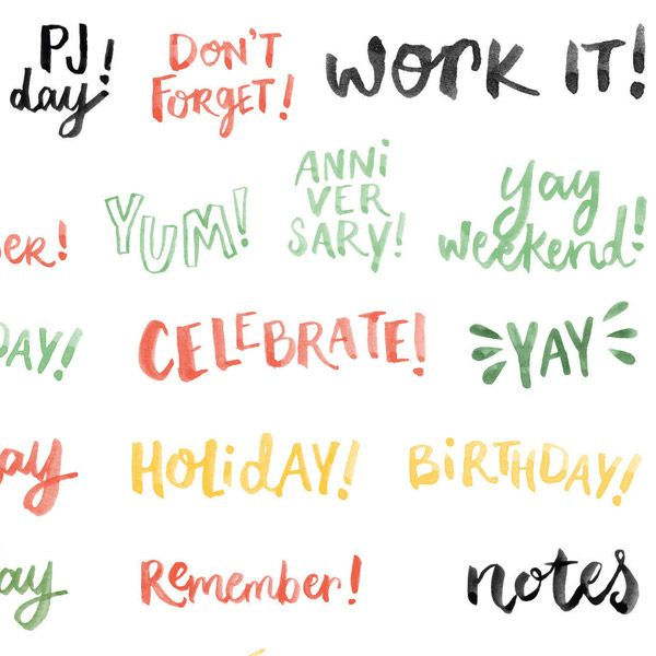 Set of 4 sheets of stickers featuring hand drawn illustrations and words, great for planners, calendars and diaries.