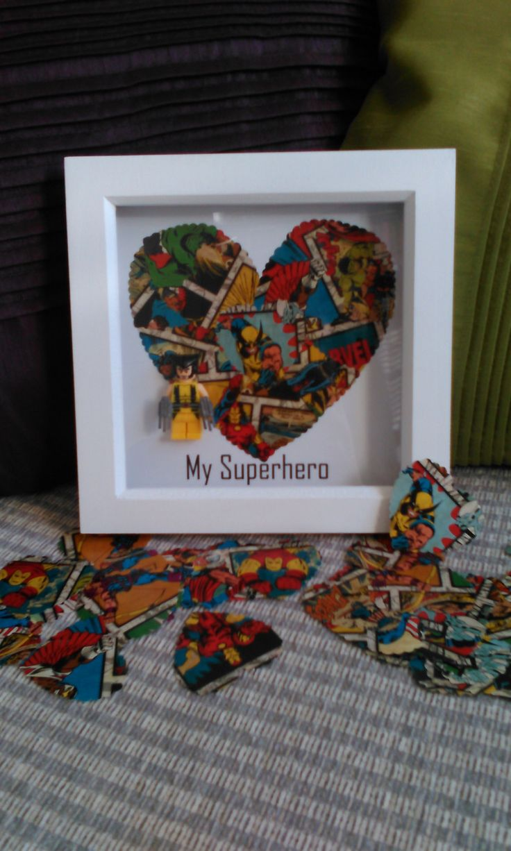 Wolverine Confetti Art, My Superhero Brick Figure. Handmade by me and Framed by DanMakesWithLove on Etsy