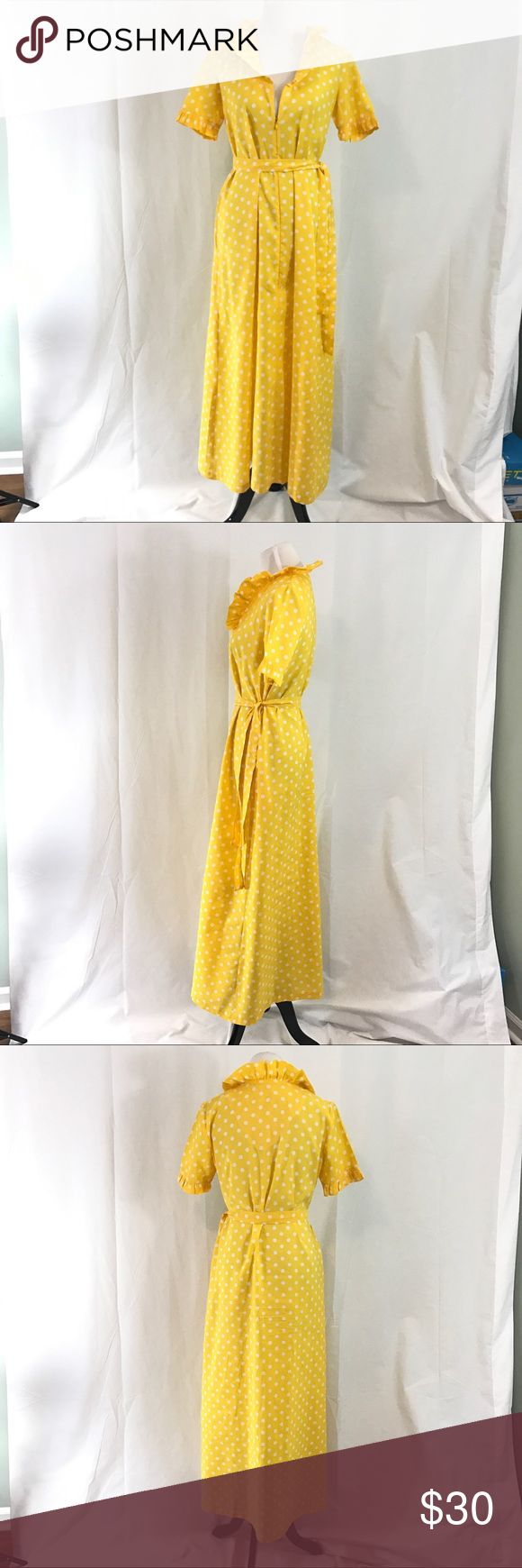 Vintage Full Length Yellow Polka Dot Maxi Dress M Vintage 196s Robe or Dress made of opaque yellow crape. Zips up the front with tie belt. Label Fifth Avenue Robes Shown on size 6 dress form. Bust 40 Waist 42 Hips 50 Length 53 ModCloth Dresses Maxi