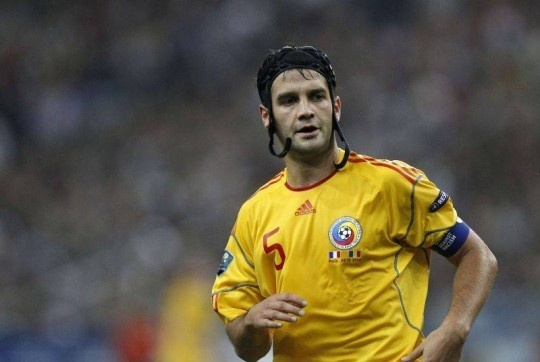 Cristian Chivu playing for Romania.