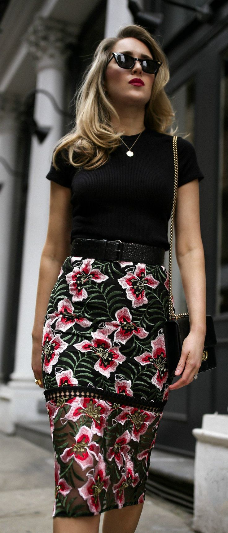 The Perfect Transition Piece: Dark Floral Skirt // Dark floral midi pencil skirt, black short sleeved tee shirt, black embossed waist belt, black patent leather mary jane pumps, black shoulder bag with chain, black retro sunglasses {Gucci, Jimmy Choo, Anthropologie, transitional style, winter to spring outfits, dark red lip, classic style, workwear outfits, chic fashion, nyc blogger}