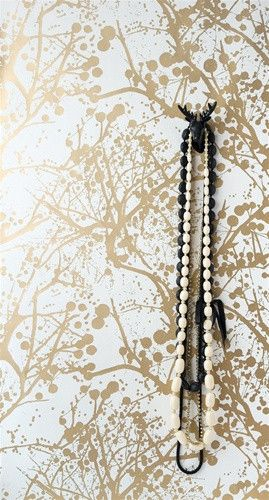 Wilderness Wallpaper in Gold and White design by Ferm Living