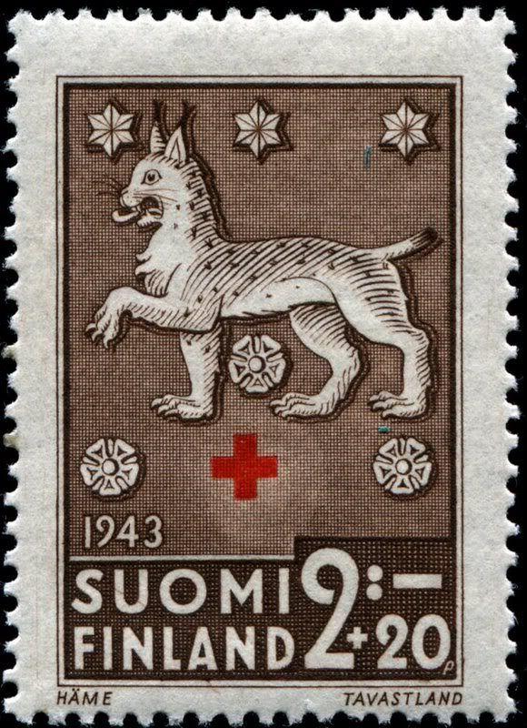 1943 Finnish postage stamp ~ The Lynx