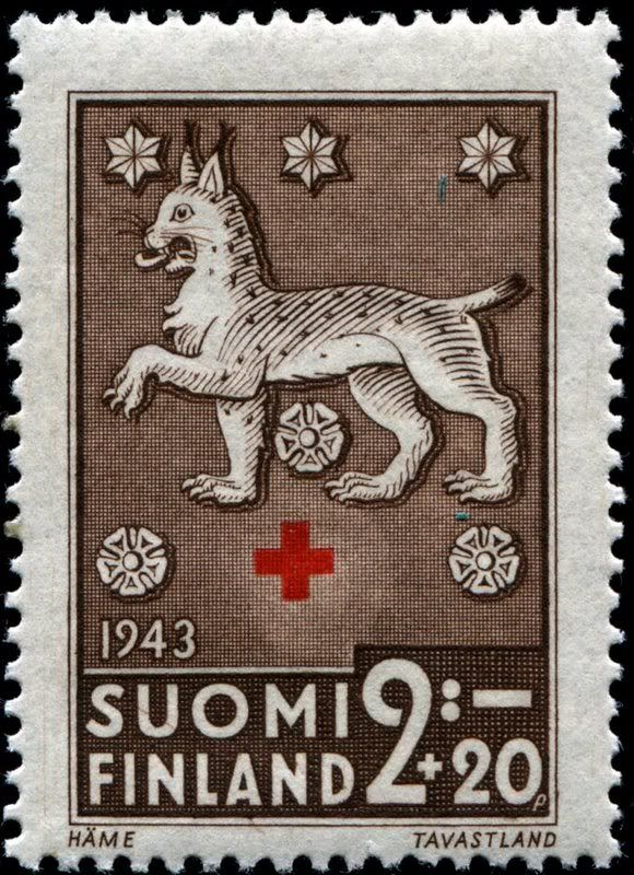 1943 Finnish postage stamp ~ The Lynx