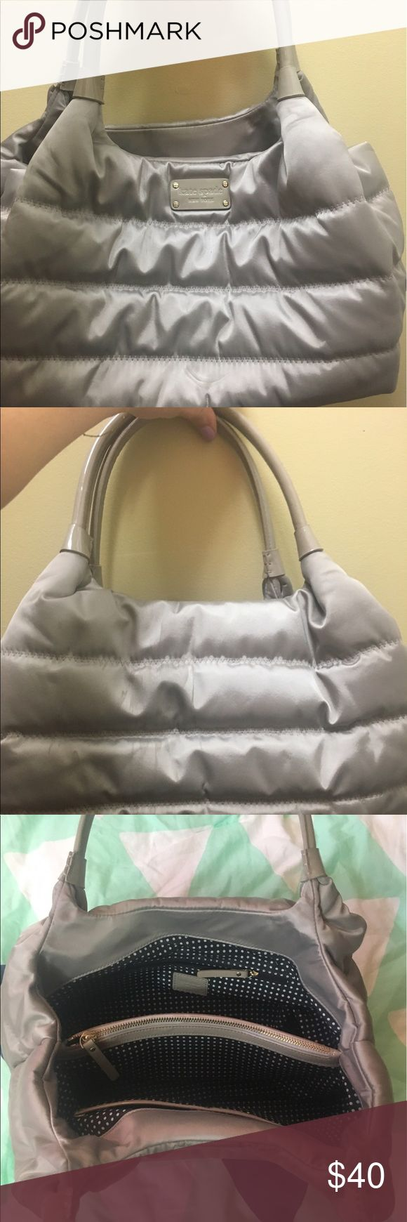 Kate Spade shoulder bag Nylon Kate Spade puffy bag with patent leather handles. Classic Kate spade polka dot interior lining. Inside and outside in good condition! kate spade Bags Shoulder Bags
