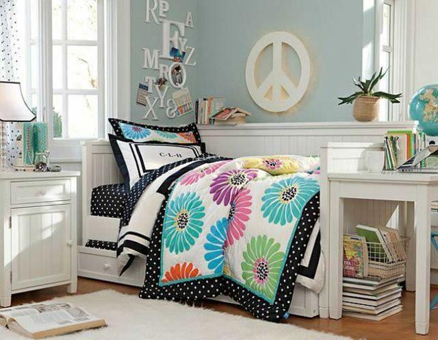 chambre ado fille peace & love / couleur vert amande, flashy et blanc
