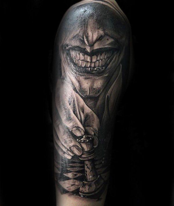 Joker With King Chess Piece Mens Half Sleeve Tattoo Cool