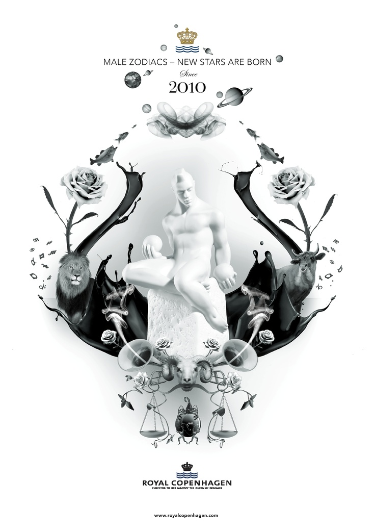 3D collage produced for Royal Copenhagen Zodiac figurines