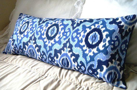 Bohemian Decor, Navy Blue and Light Blue Ikat Long Pillow, blue lumbar pillow boho room decor ...