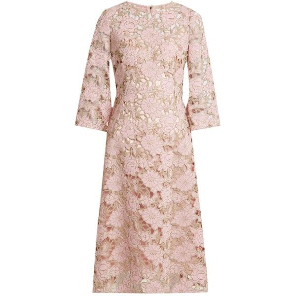 Dolce & Gabbana Wool-blend lace midi dress ($5,610) ❤ liked on Polyvore featuring dresses, light pink, nude lace dresses, lace dress, midi cocktail dress, light pink cocktail dress and light pink dress
