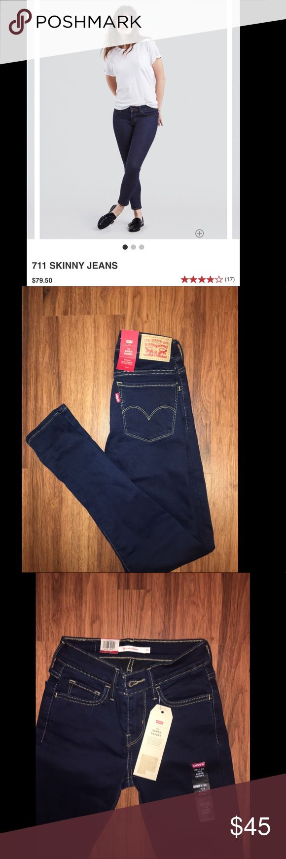 Levi 711 Skinny Dark Wash These suckers are literally brand new bc I bought the wrong size and lost the receipt & Macy's won't take them back!!! (Thanks Macy's!!) They are such a nice dark wash, and trust me, the magic of Levi's will do wonders for your butt! The photo from the website is the closest I could find, but these are more mid-rise than low! Shoot me an offer :) Levi's Jeans Skinny