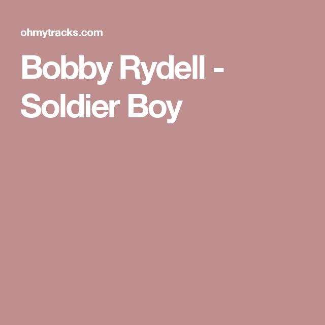 Bobby Rydell - Soldier Boy