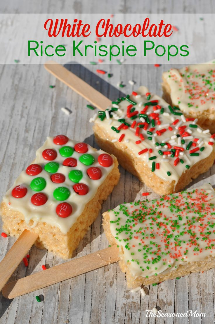 These no-bake White Chocolate Rice Krispie Pops are fun and festive Holiday Treats for the Classroom!  They're allergy-friendly, mess-free, and ready in just minutes, making them the perfect Christmas party food for kids!