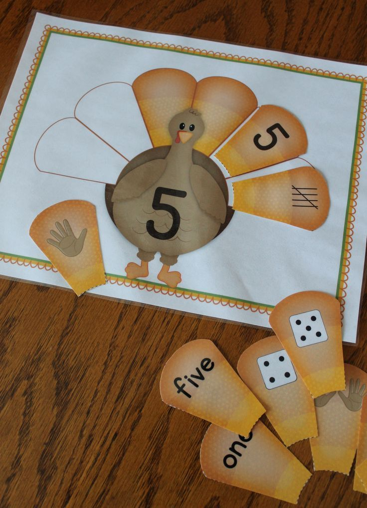 Thanksgiving activities for preschool and kindergarten - turkey number sorting mats - can be customized to meet your needs