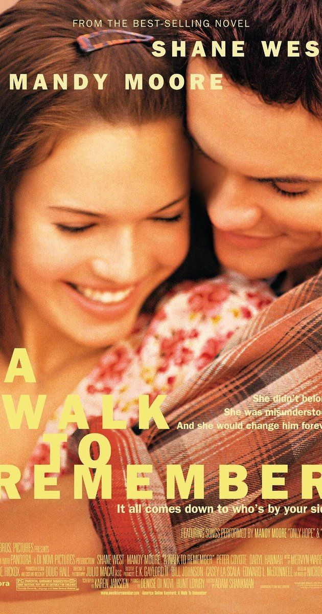 Directed by Adam Shankman.  With Mandy Moore, Shane West, Peter Coyote, Daryl Hannah. The story of two North Carolina teens, Landon Carter and Jamie Sullivan, who are thrown together after Landon gets into trouble and is made to do community service.